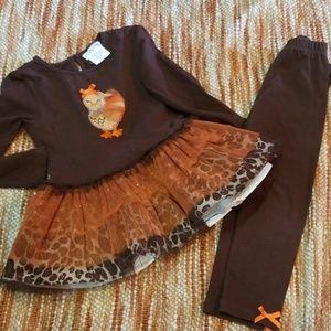 Girls 5 Turkey tutu dress leggings outfit set